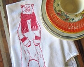 Christmas Towels - Christmas Tea Towel - Screen Printed Flour Sack Towel - Kitchen Towels - Polar Bear - Christmas Decorations - Christmas