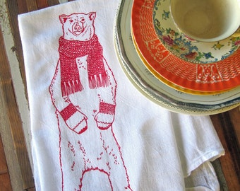 Christmas Towels - Christmas Tea Towel - Screen Printed Flour Sack Towel - Kitchen Towels - Polar Bear - Christmas Decorations - Christmas