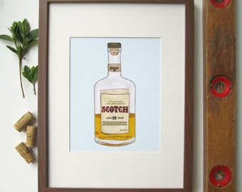 Scotch Whiskey Fine Art Print - Handmade - Home Brew - Illustration - Hand Drawn - Cotton Rag Paper - Wall Art - Home Decor - Print - 8X10