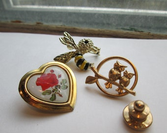 Owl Pin-Vintage Brooch-Avon-Gerry-Floral Red Valentine Heart Pin-Bumble Bee-Retro Avon-Instant Jewelry Collection 1970's Costume Jewelry