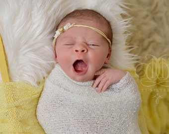 SET White Mongolian Faux Fur, Baby Yellow and Off White Stretch Knit Wraps Newborn Photography