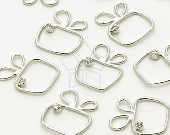 AC-533-OR / 2 Pcs - Tyny Wire Charm Pendant (Mouse), Silver Plated over Brass / 9mm x 10mm