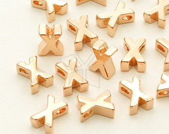 IN-257-RG / 2 Pcs - Initial Tiny Pendant, Alphabet, Capital letter, Upper case, X, Rose Gold Plated over Brass / 5mm x 7mm