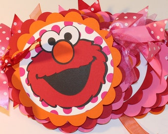 ELMO Girly Birthday Banner with matching Name Banner- Hot Pink, Red, Orange