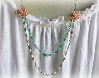 Soft Pink Rose necklace, Sea foam necklace, Champagne necklace, Pastel necklace