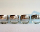 Vintage Silver Rimmed Embossed Grape Roly Poly Glasses - Set of 4 - Hollywood Regency
