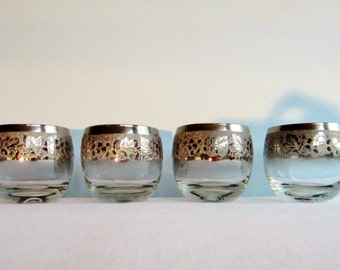 Vintage Silver Rimmed Embossed Grape Roly Poly Glasses - Set of 4 - Hollywood Regency