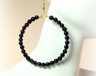 Black Agate Beaded Hoop Earrings - Women's Black Earrings