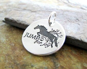 Jump for Joy, Fine Silver Horse Pendant, Artisan Handmade Original by SilverWishes, Hunter Jumper Jewelry