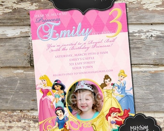DISNEY PRINCESS Custom Photo Birthday Invitation - Digital File, You Print - 5x7