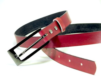 Red Leather Skinny Belt