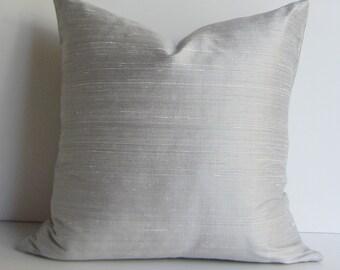 Silver Silk Pillow Cover -  Silk Pillow  - 20 inch -  Decorative Pillow Cover - gray - ready to ship