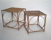 SALE Bamboo Chippendale Stacking Tables / Cube Side Table