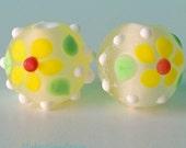 Acid Drops - Dotty Flowers - Handmade Lampwork - UK - SRA