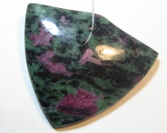 Ruby in Zoisite pendant bead   .........       39 x 45 x 7 mm ............     a3639