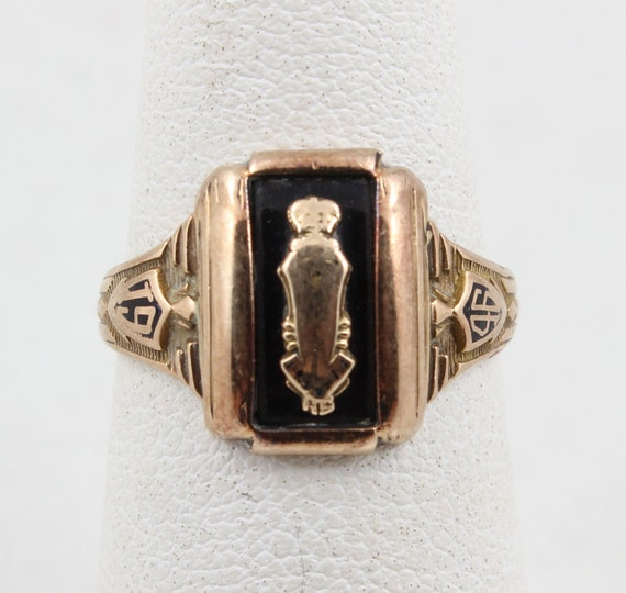 Vintage 1946 HJ 10K Yellow Gold Class Ring