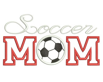 Soccer Mom Machine Embroidery Applique Design - 3 Sizes - Instant Download