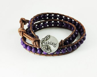 Personalized Wrap Bracelet Boho beaded leather wrap