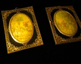 x Pair of delightful convex acrylic Victorian Images mounted on wood w/embossed metal detail (#FF36)