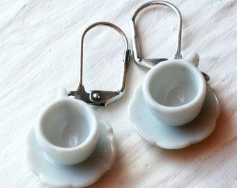 White Tea Cup Earrings, Tea Cup Earrings, Tea Cup Jewelry, Tea Jewelry, Tea Cup Jewellery, Miniature Teacup Jewelry