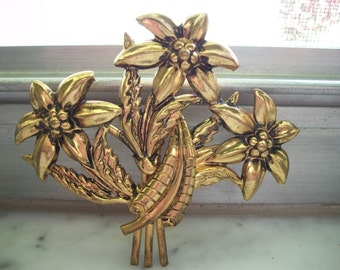 Vintage Large Flower Bouquet Brooch