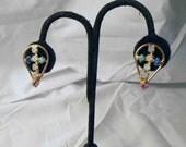 1980s Cross Earrings Sea Opal, Turquoise and Royal Blue Rhinestone
