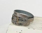 Metallic Gray Silcer Triple Wrap    Leather Cuff-Bracelet
