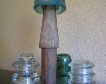 Four (4) ANTIQUE Telephone Pole Glass Insulators with Wood Pole Peg