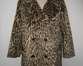 RESERVED for Hannah Vintage 1960s Leopard Print Coat Faux Fur Vegan Rockabilly XL XXL Double Breasted