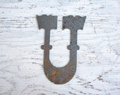 Vintage Letter U - Rusted Metal Typography - Collectibles and Supplies