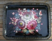 Beautiful Hand Painted Metal Vintage Tray