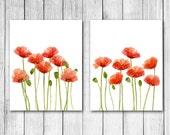 Watercolor Red Poppies Digital Art Print Set
