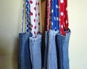 Denim Bag Patriotic Lunch Tote Nautical Upcycled Red White Blue Pocket Velcro July 4th – Size Small