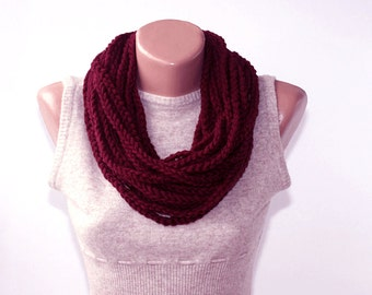 Burgundy scarf infinity scarves for women fall fashion scarves autumn scarf circle scarf loop scarf crochet chain scarf christmas gift
