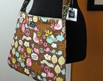 Washable Birds Trees Forest Peace Signs Brown Kawaii Fabric Messenger Sling Crossbody Hip Bag Tote Bag Purse Adjustable Strap