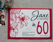 Tiger Lily - 60th Birthday Invitation (min. 50 qty)