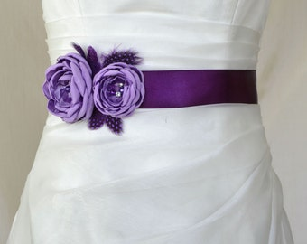 Handcraft Lavender and Purple Two Flowers With Feathers Wedding Bridal Sash Belt
