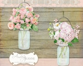 Mason Jars, Digital Clip Art Kit, Country Rustic, roses hydrangea poppies calla lilies ivy floral flowers scrapbooking vintage look E14-17C