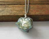 Teal Mystic Quartz Crystal Necklace - Blue Green Teal Mystic Titanium Crystal Nugget Pendant Necklace Silver Chain stone no.1