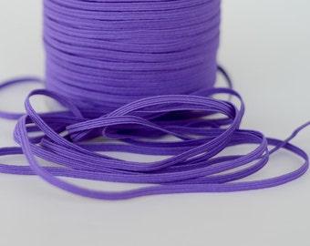 """5 or 10 yards of 1/8"""" Skinny Elastic, Purple"""