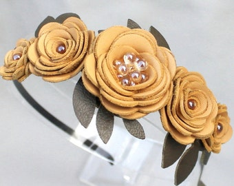 Wedding hairpiece yellow flower headband leather rose headband woodland wedding bridal tiara prom wearable art