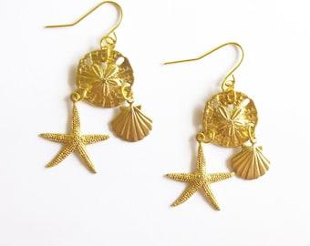Beach Bride Earrings Gold Bridal Jewelry Bridesmaid Gifts Nautical Mermaid Starfish Seashell Sea Shell Sand Dollar Charm Wedding Accessories