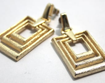 Vintage Square Gold Yaffa Design Earrings.