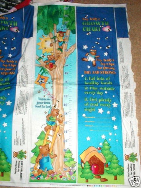Items similar to kids teddy bear growth chart fabric panel for Children s material sewing