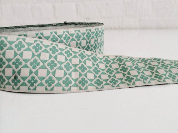 """SALE: 5 Yards New Hampshire Jacquard Ribbon  - Sewing Gift Wrapping Teal green 1 3/4"""""""
