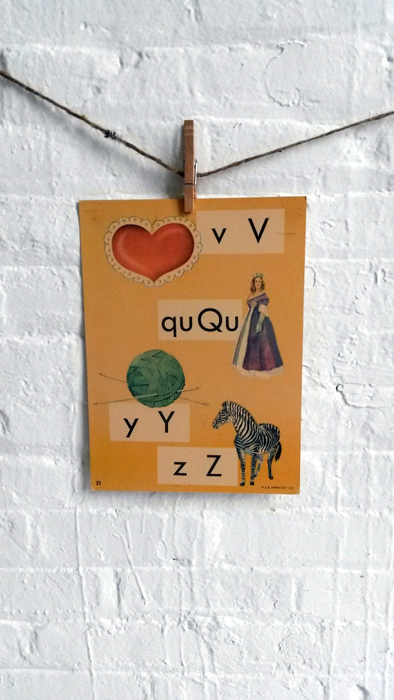 Vintage Large Flashcard V Valentine Q Queen Y Yarn Z Zebra  - Picture Flashcard Words