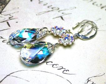 Long Swarovski Crystal Teardrop Earrings in Crystal AB - Crystal Flower Links - Sterling Silver Leverbacks