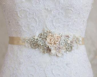 Champagne belt sash, Floral belt sash, Lace belt sash, Wedding dress belt, Bridal dress sash, Bride belt sash, Rhinestone Beige Ivory