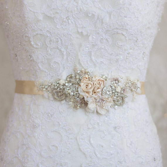 Champagne bridal sash bridal sash floral sash beltwedding for Wedding dress belt sash