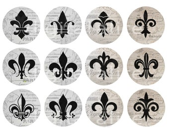 French FLEUR de LIS Craft Circles - Fleur De Lis -Instant Download Digital Printable-  -Shower, Stickers, Bottlecaps Collage Sheet